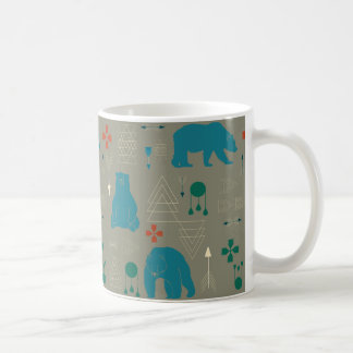 tribal bear gray coffee mug