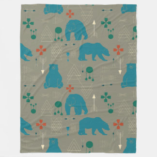 tribal bear gray fleece blanket
