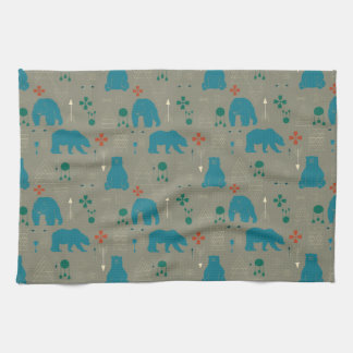 tribal bear gray towel