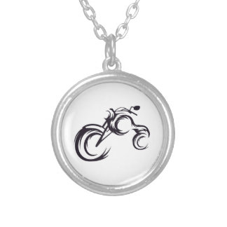 Tribal Bike Silver Plated Necklace