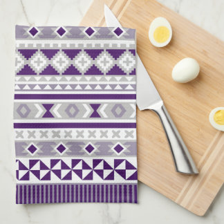 Tribal Blanket Pattern Purple Grey Kitchen Towel