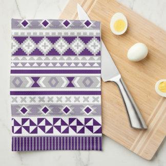 Tribal Blanket Pattern Purple Grey Kitchen Towels