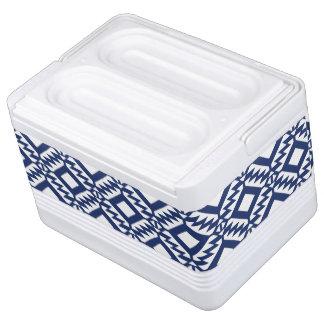 Tribal blue and white geometric