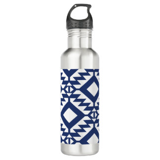 Tribal blue and white geometric 710 ml water bottle