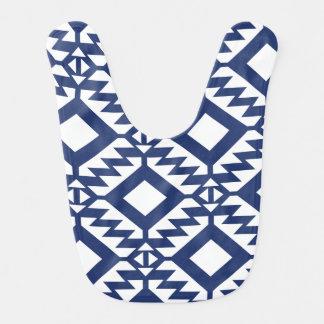 Tribal blue and white geometric bib