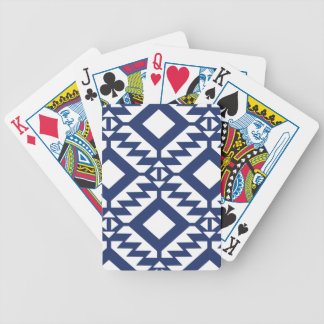 Tribal blue and white geometric bicycle playing cards