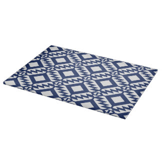 Tribal blue and white geometric boards