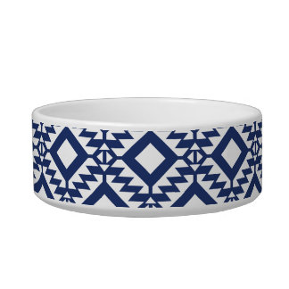 Tribal blue and white geometric bowl