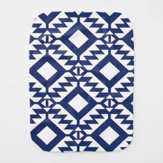 Tribal blue and white geometric burp cloth