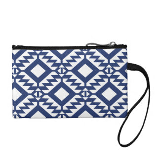 Tribal blue and white geometric coin purse