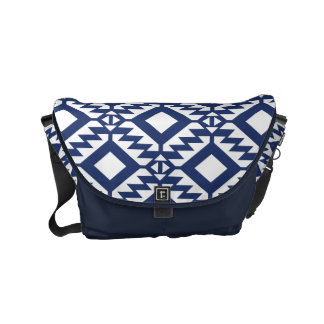 Tribal blue and white geometric commuter bag