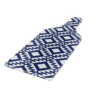 Tribal blue and white geometric cutting board