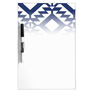 Tribal blue and white geometric dry erase board