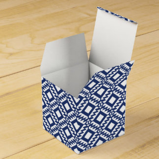 Tribal blue and white geometric favor box