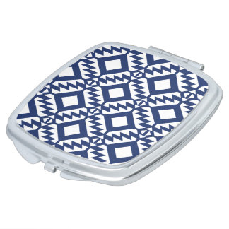 Tribal blue and white geometric makeup mirrors