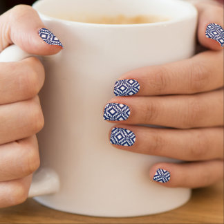 Tribal blue and white geometric minx nail art