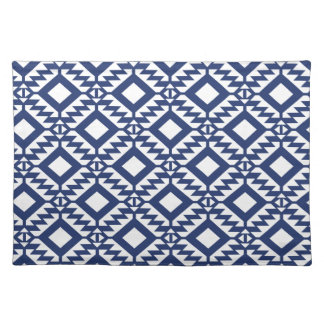 Tribal blue and white geometric place mats