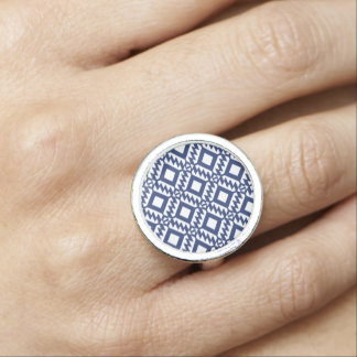 Tribal blue and white geometric ring