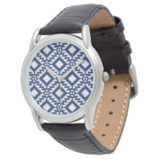 Tribal blue and white geometric watch