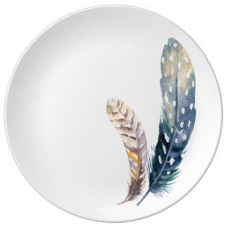 Tribal Blue Feather Boho Pattern Porcelain Plates