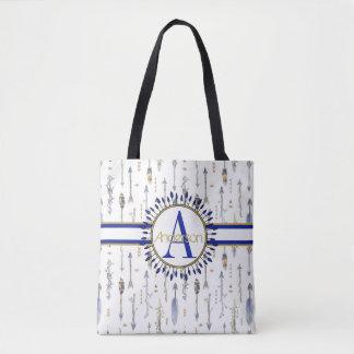Tribal Boho Arrows Monogrammed Tote Bag
