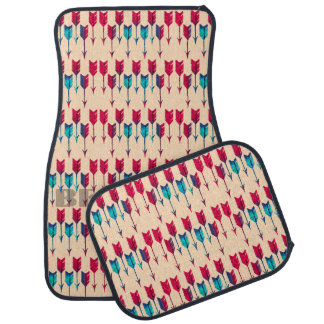 Tribal Boho Arrows Red Turquoise Feather Bohemian Car Mat