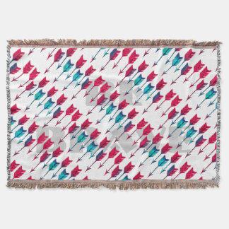 Tribal Boho Arrows Red Turquoise Feather Bohemian Throw Blanket