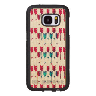 Tribal Boho Arrows Red Turquoise Feather Bohemian Wood Samsung Galaxy S7 Case