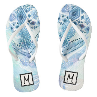 Tribal Boho Blue Feather Monogram Flip Flops
