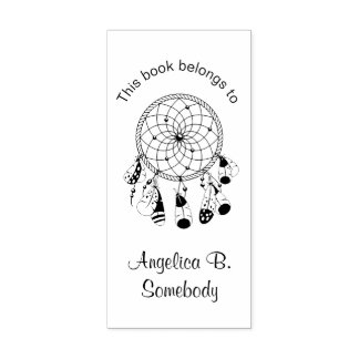 Tribal Boho Dreamcatcher - Bookplate Rubber Stamp