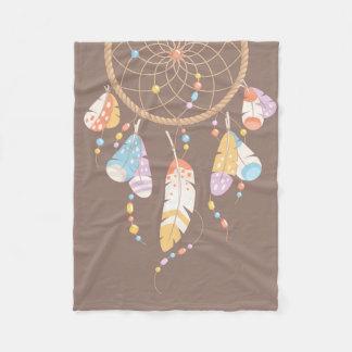 Tribal Boho Dreamcatcher on Brown Fleece Blanket