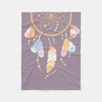 Tribal Boho Dreamcatcher on Purple Fleece Blanket