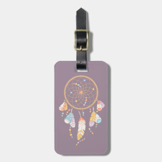 Tribal Boho Dreamcatcher on Purple Luggage Tag