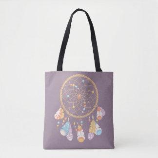 Tribal Boho Dreamcatcher on Purple Tote Bag