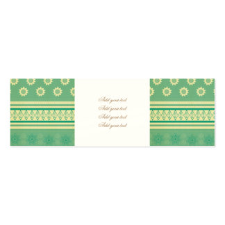 tribal,boho,green,yellow,girly,cute,hipster,patter pack of skinny business cards