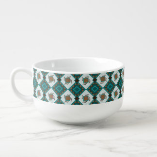 Tribal boho rustic style pattern soup mug