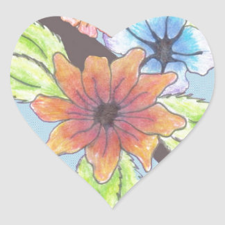 Tribal Bouquet Heart Sticker
