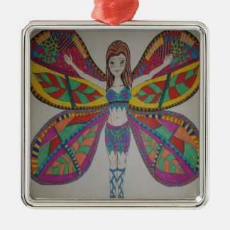 Tribal butterfly Fairy Metal Ornament