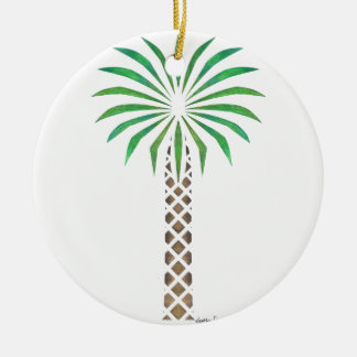 Tribal Canary Date Palm Ceramic Ornament