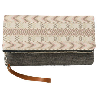 Tribal Chevron Stripe Pink Grey Foldover Purse Clutch