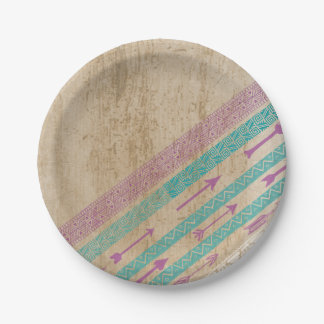 Tribal Chic Arrows Shabby Chic Paper Plate Purple