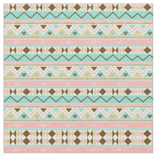 Tribal Chic Geometric Turquoise Gold Fabric