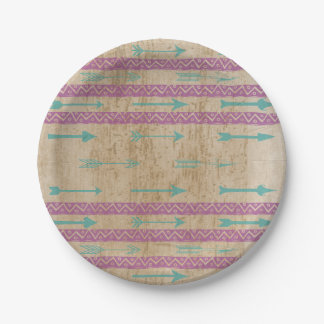 Tribal Chic Purple Stripe Teal Arrow Paper Plate