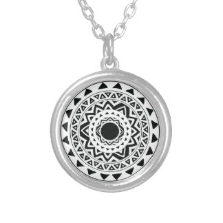 tribal Circle in Black Silver Plated Necklace