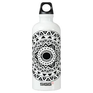 tribal Circle in Black Water Bottle