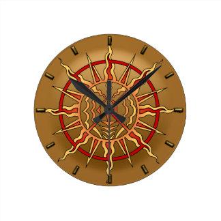 Tribal Clock Modern Native Sun Wall Clocks Decor