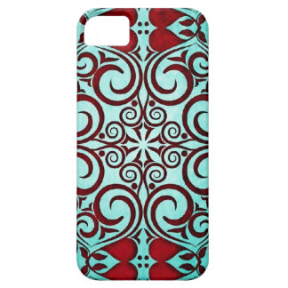 Tribal Close Up Damask Faded Punch Teal Shimmer iPhone 5 Covers
