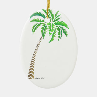 Tribal Coconut Palm Tree Ceramic Oval Ornament