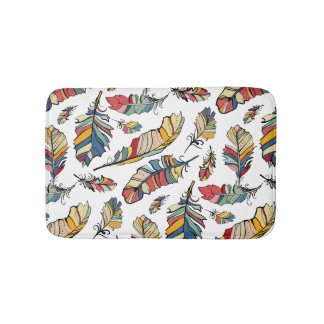 Tribal Colorful Feathers Illustration Bath Mat