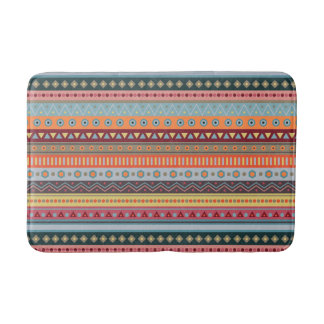 Tribal Colorful Geometric Pattern Bath Mat